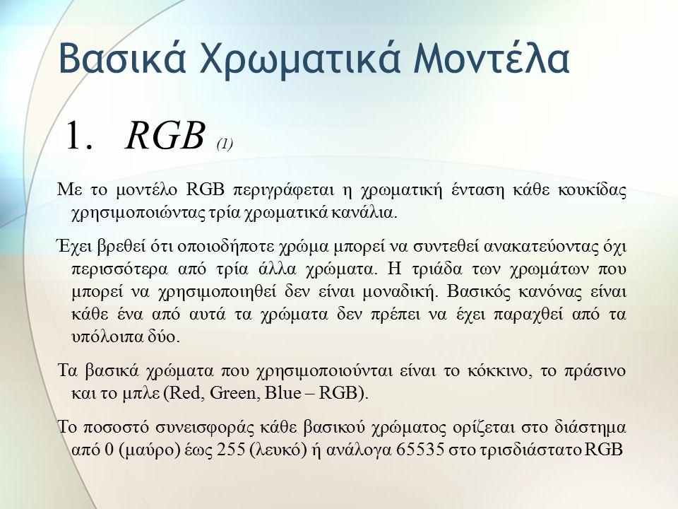 Βασικά Χρωματικά Μοντέλα 1. RGB (1) Με το μοντέλο RGB περιγράφεται η χρωματική ένταση κάθε κουκίδας χρησιμοποιώντας τρία χρωματικά κανάλια. Έχει βρεθε