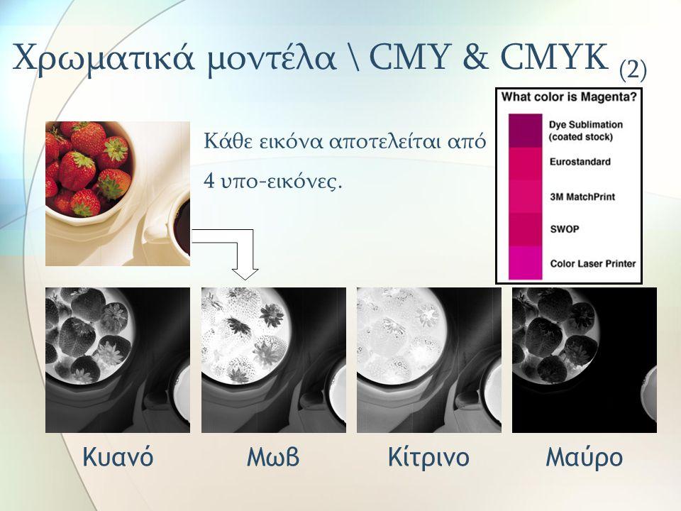 Χρωματικά μοντέλα \ CMY & CMYK (2) Κάθε εικόνα αποτελείται από 4 υπο-εικόνες. ΚυανόΜωβΚίτρινοΜαύρο