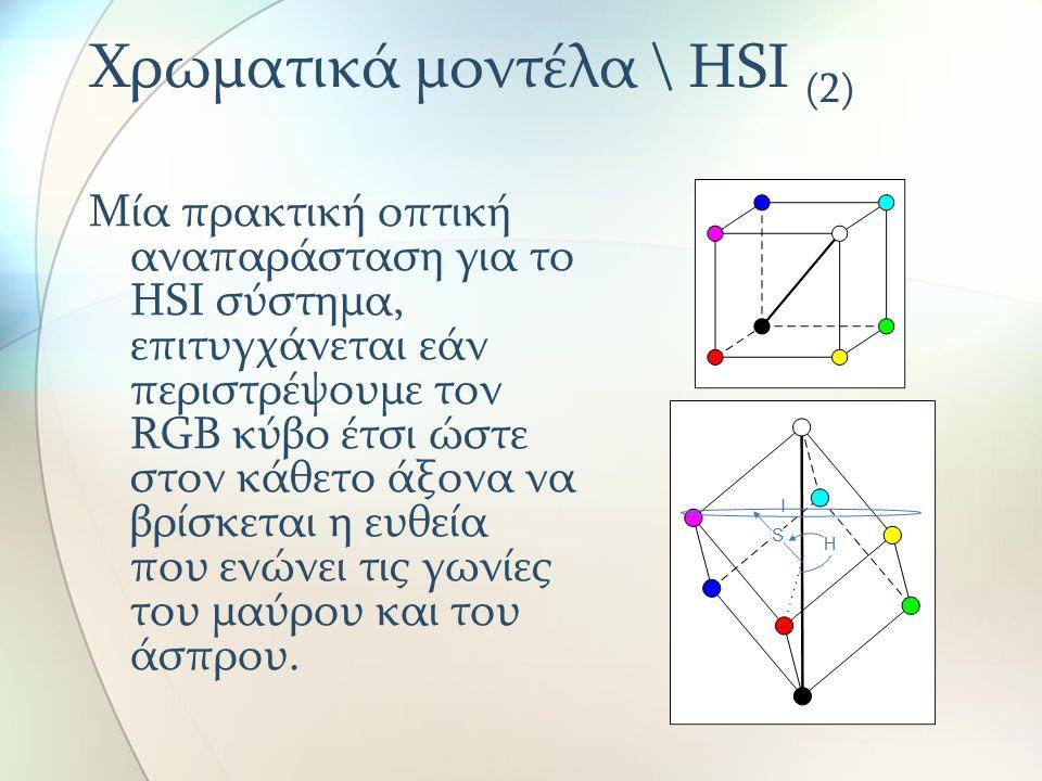 Χρωματικά μοντέλα \ HSI (2) Μία πρακτική οπτική αναπαράσταση για το HSΙ σύστημα, επιτυγχάνεται εάν περιστρέψουμε τον RGB κύβο έτσι ώστε στον κάθετο άξ