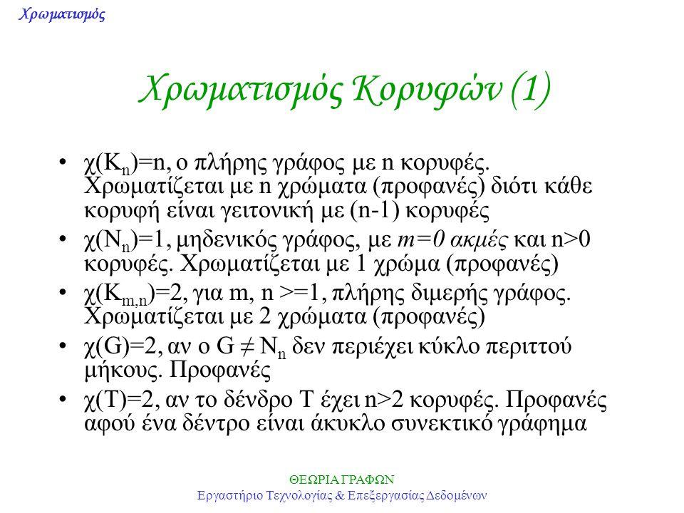 Χρωματισμός ΘΕΩΡΙΑ ΓΡΑΦΩΝ Εργαστήριο Τεχνολογίας & Επεξεργασίας Δεδομένων Χρωματισμός Κορυφών (1) χ(K n )=n, ο πλήρης γράφος με n κορυφές. Χρωματίζετα