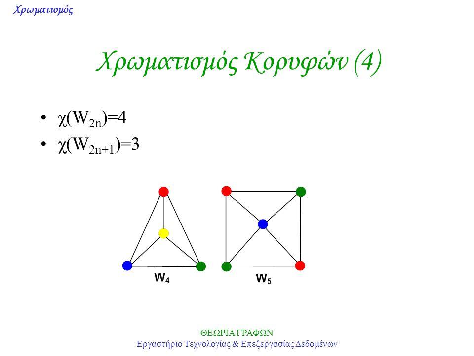 Χρωματισμός ΘΕΩΡΙΑ ΓΡΑΦΩΝ Εργαστήριο Τεχνολογίας & Επεξεργασίας Δεδομένων Χρωματισμός Κορυφών (4) χ(W 2n )=4 χ(W 2n+1 )=3