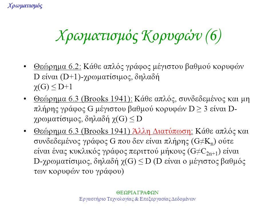 Χρωματισμός ΘΕΩΡΙΑ ΓΡΑΦΩΝ Εργαστήριο Τεχνολογίας & Επεξεργασίας Δεδομένων Χρωματισμός Κορυφών (6) Θεώρημα 6.2: Κάθε απλός γράφος μέγιστου βαθμού κορυφ