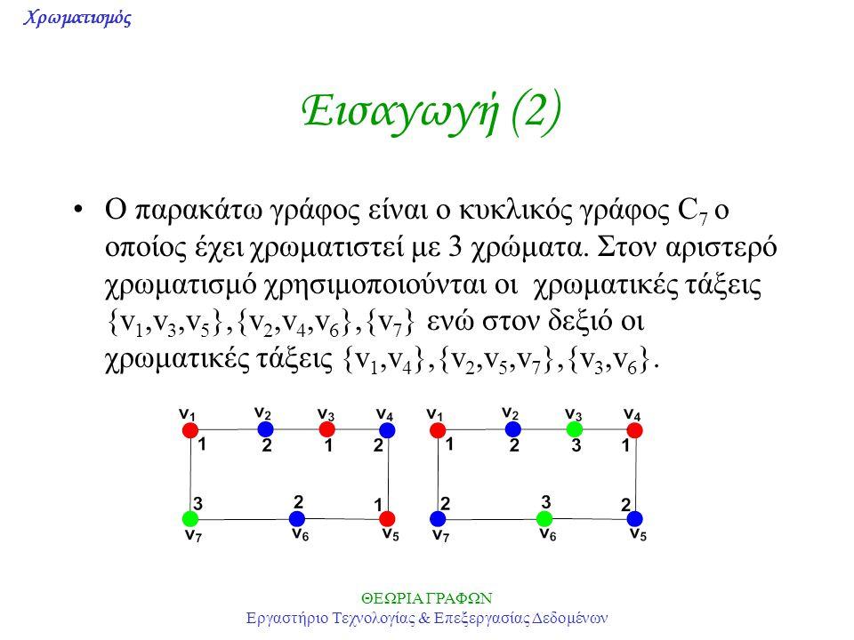 Χρωματισμός ΘΕΩΡΙΑ ΓΡΑΦΩΝ Εργαστήριο Τεχνολογίας & Επεξεργασίας Δεδομένων Εισαγωγή (3) Ένας γράφος χωρίς βρόχους λέγεται k-χρωματίσιμος (k-colorable) αν οι κορυφές του μπορούν να χρωματισθούν με k το πολύ χρώματα Γράφος k-χρωματικός (k-chromatic): οι κορυφές του μπορούν να χρωματισθούν με k χρώματα, αλλά όχι με k-1.