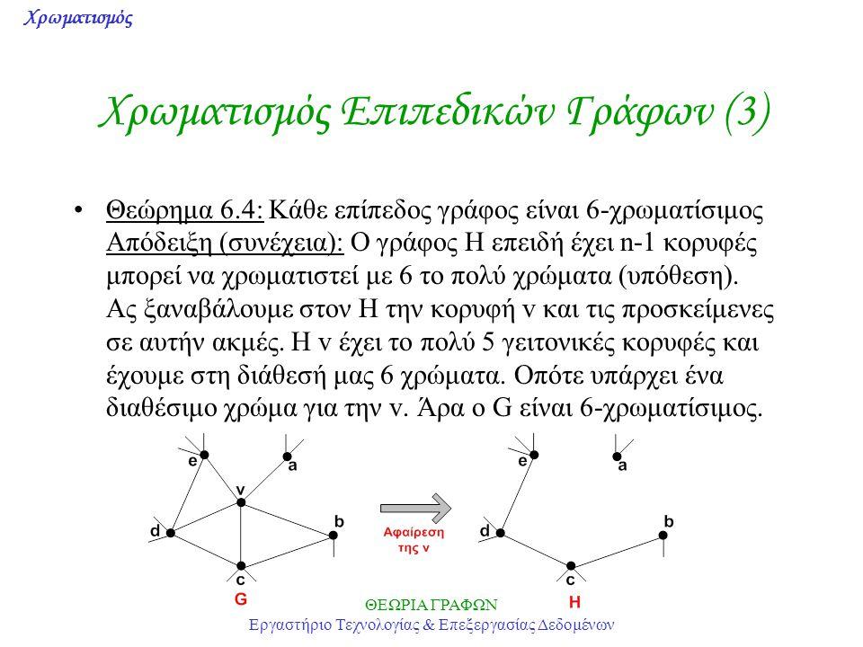Χρωματισμός ΘΕΩΡΙΑ ΓΡΑΦΩΝ Εργαστήριο Τεχνολογίας & Επεξεργασίας Δεδομένων Χρωματισμός Επιπεδικών Γράφων (3) Θεώρημα 6.4: Κάθε επίπεδος γράφος είναι 6-
