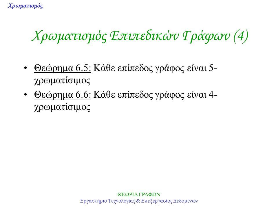 Χρωματισμός ΘΕΩΡΙΑ ΓΡΑΦΩΝ Εργαστήριο Τεχνολογίας & Επεξεργασίας Δεδομένων Χρωματισμός Επιπεδικών Γράφων (4) Θεώρημα 6.5: Κάθε επίπεδος γράφος είναι 5-
