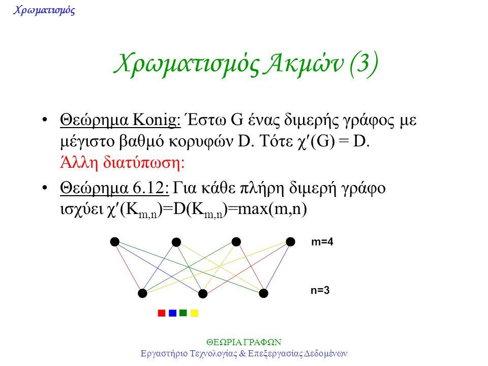 Χρωματισμός ΘΕΩΡΙΑ ΓΡΑΦΩΝ Εργαστήριο Τεχνολογίας & Επεξεργασίας Δεδομένων Χρωματισμός Ακμών (3) Θεώρημα Konig: Έστω G ένας διμερής γράφος με μέγιστο β