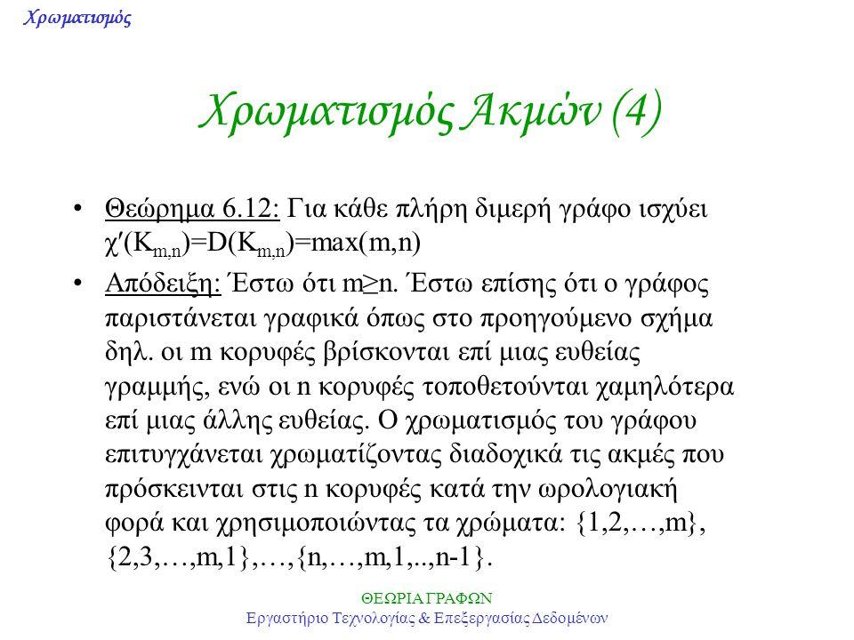 Χρωματισμός ΘΕΩΡΙΑ ΓΡΑΦΩΝ Εργαστήριο Τεχνολογίας & Επεξεργασίας Δεδομένων Χρωματισμός Ακμών (4) Θεώρημα 6.12: Για κάθε πλήρη διμερή γράφο ισχύει χ(K m