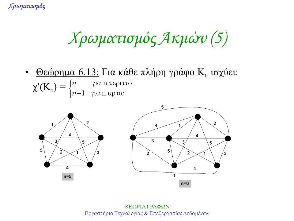 Χρωματισμός ΘΕΩΡΙΑ ΓΡΑΦΩΝ Εργαστήριο Τεχνολογίας & Επεξεργασίας Δεδομένων Χρωματισμός Ακμών (5) Θεώρημα 6.13: Για κάθε πλήρη γράφο K n ισχύει: χ(K n )