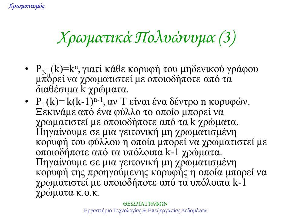Χρωματισμός ΘΕΩΡΙΑ ΓΡΑΦΩΝ Εργαστήριο Τεχνολογίας & Επεξεργασίας Δεδομένων Χρωματικά Πολυώνυμα (3) P N n (k)=k n, γιατί κάθε κορυφή του μηδενικού γράφο