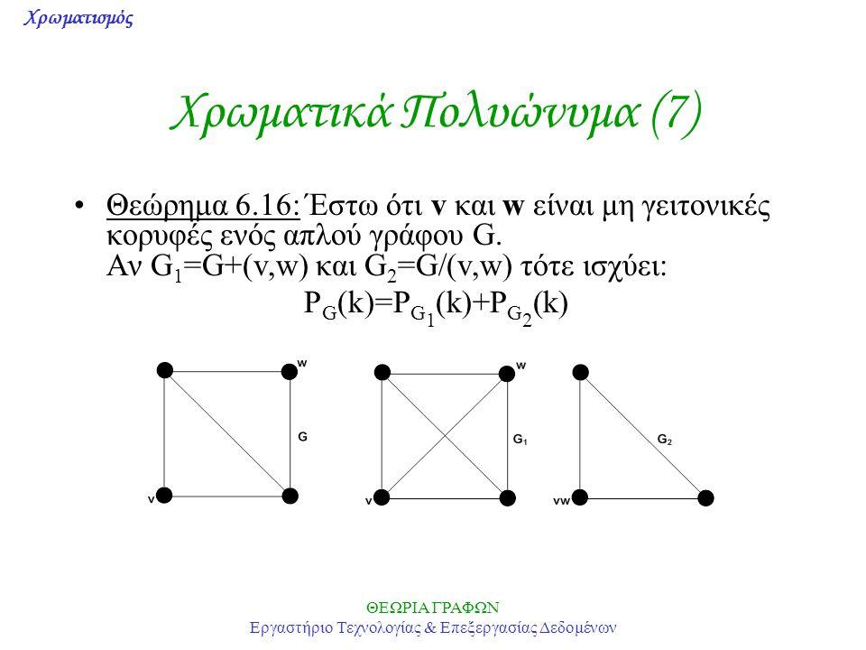 Χρωματισμός ΘΕΩΡΙΑ ΓΡΑΦΩΝ Εργαστήριο Τεχνολογίας & Επεξεργασίας Δεδομένων Χρωματικά Πολυώνυμα (7) Θεώρημα 6.16: Έστω ότι v και w είναι μη γειτονικές κ