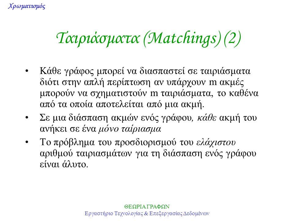 Χρωματισμός ΘΕΩΡΙΑ ΓΡΑΦΩΝ Εργαστήριο Τεχνολογίας & Επεξεργασίας Δεδομένων Ταιριάσματα (Matchings) (2) Κάθε γράφος μπορεί να διασπαστεί σε ταιριάσματα