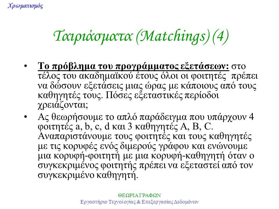 Χρωματισμός ΘΕΩΡΙΑ ΓΡΑΦΩΝ Εργαστήριο Τεχνολογίας & Επεξεργασίας Δεδομένων Ταιριάσματα (Matchings) (4) Το πρόβλημα του προγράμματος εξετάσεων: στο τέλο