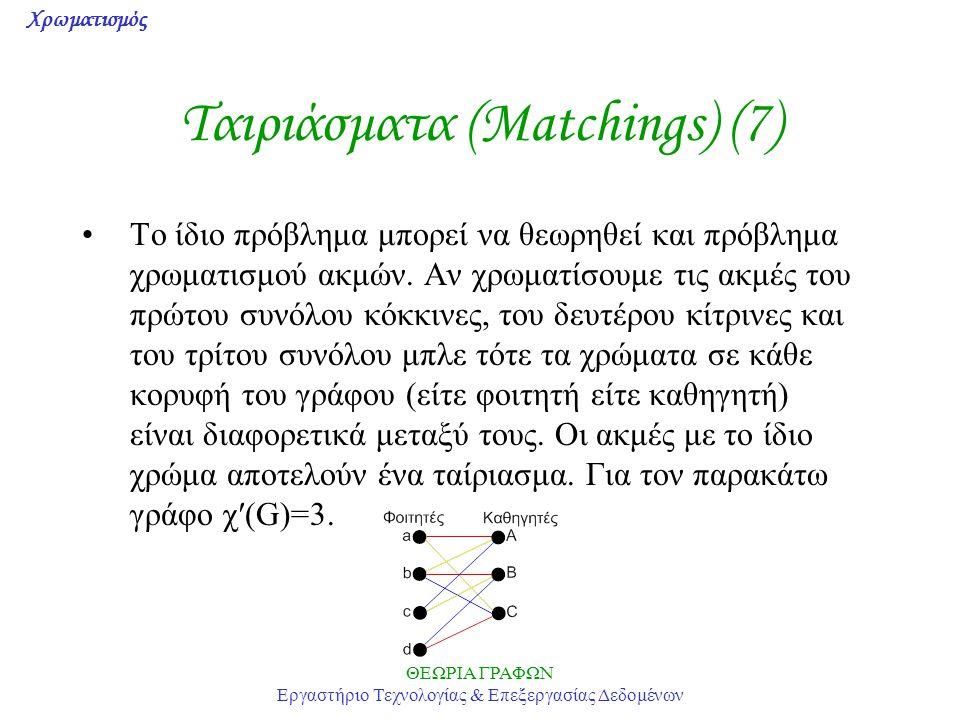 Χρωματισμός ΘΕΩΡΙΑ ΓΡΑΦΩΝ Εργαστήριο Τεχνολογίας & Επεξεργασίας Δεδομένων Ταιριάσματα (Matchings) (7) Το ίδιο πρόβλημα μπορεί να θεωρηθεί και πρόβλημα