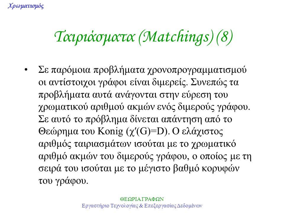 Χρωματισμός ΘΕΩΡΙΑ ΓΡΑΦΩΝ Εργαστήριο Τεχνολογίας & Επεξεργασίας Δεδομένων Ταιριάσματα (Matchings) (8) Σε παρόμοια προβλήματα χρονοπρογραμματισμού οι α