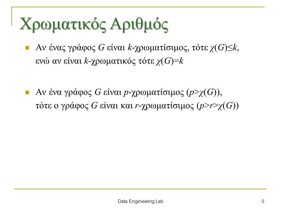 Data Engineering Lab Χρωματικός Αριθμός Αν ένας γράφος G είναι k-χρωματίσιμος, τότε χ(G)≤k, ενώ αν είναι k-χρωματικός τότε χ(G)=k Αν ένα γράφος G είναι p-χρωματίσιμος (p>χ(G)), τότε ο γράφος G είναι και r-χρωματίσιμος (p>r>χ(G)) 5