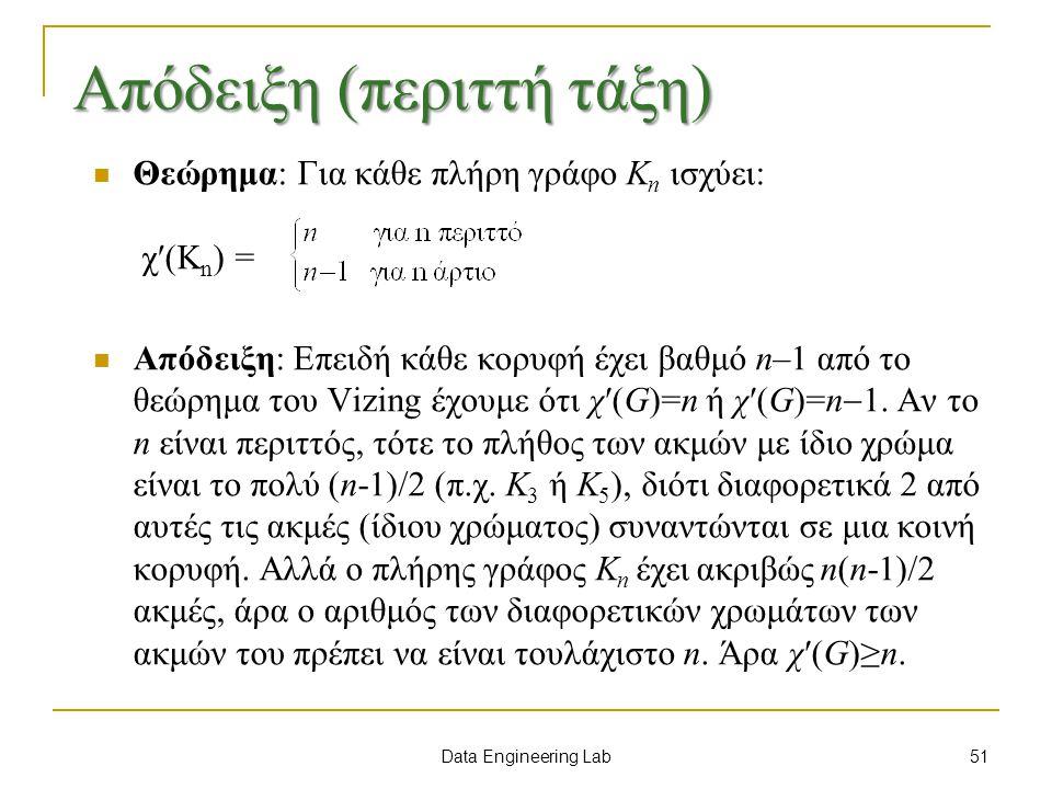 Data Engineering Lab Απόδειξη (περιττή τάξη) Θεώρημα: Για κάθε πλήρη γράφο K n ισχύει: χ(K n ) = Απόδειξη: Επειδή κάθε κορυφή έχει βαθμό n–1 από το θεώρημα του Vizing έχουμε ότι χ′(G)=n ή χ′(G)=n  1.