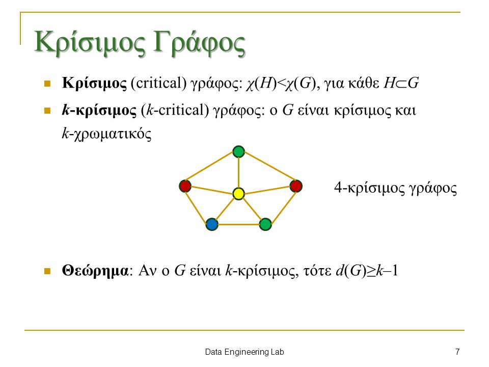 Data Engineering Lab Κρίσιμος Γράφος Κρίσιμος (critical) γράφος: χ(Η)<χ(G), για κάθε Η  G k-κρίσιμος (k-critical) γράφος: o G είναι κρίσιμος και k-χρωματικός Θεώρημα: Αν ο G είναι k-κρίσιμος, τότε d(G)≥k–1 4-κρίσιμος γράφος 7