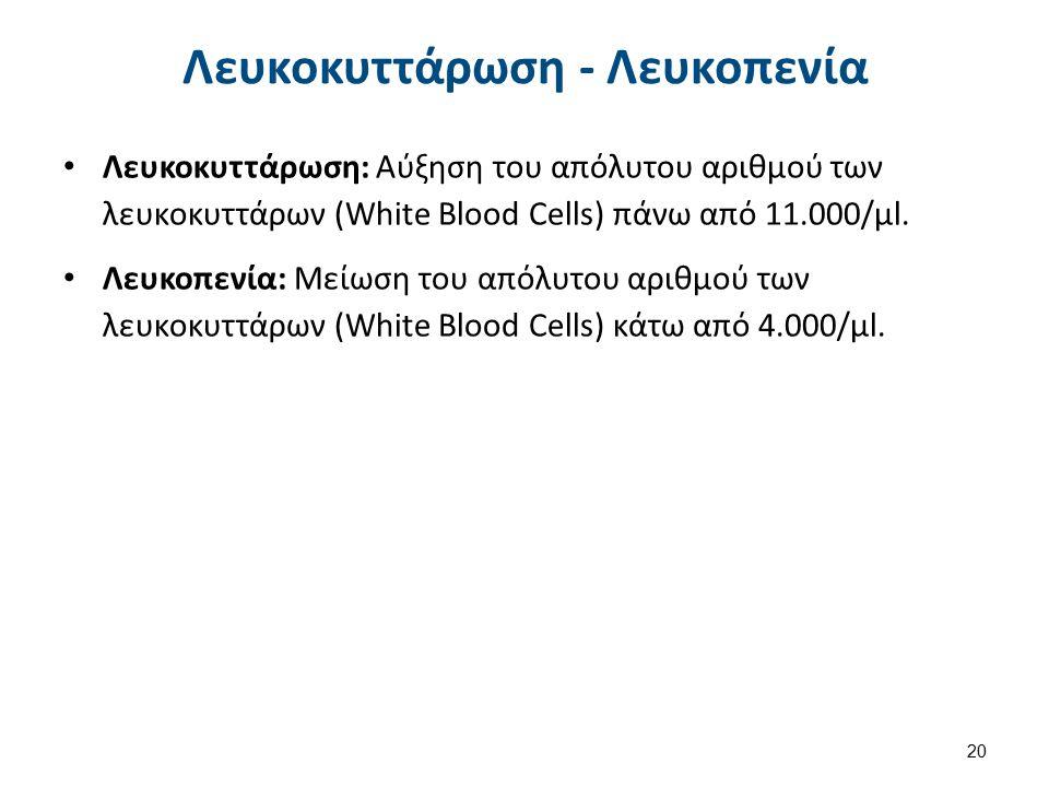 Λευκοκυττάρωση - Λευκοπενία Λευκοκυττάρωση: Αύξηση του απόλυτου αριθμού των λευκοκυττάρων (White Blood Cells) πάνω από 11.000/μl. Λευκοπενία: Μείωση τ