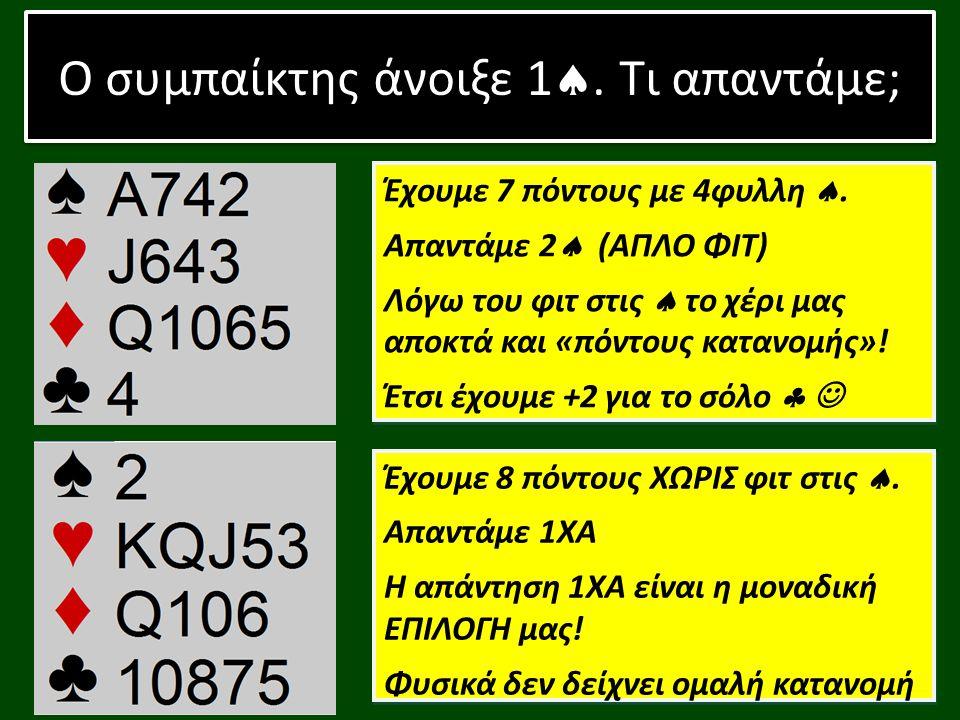 Ο συμπαίκτης άνοιξε 1 , τι απαντάμε; Ας δούμε πως «δουλεύουν» οι λέξεις στο επίπεδο 2… ΑΓΟΡΑ ΝΕΟΥ ΧΡΩΜΑΤΟΣ ΣΤΟ ΕΠΙΠΕΔΟ 2 χωρίς ΠΗΔΗΜΑ: 10+ ΠΟΝΤΟΙ & 4+ΦΥΛΛΑ ΣΤΟ ΧΡΩΜΑ ΑΥΤΟ Εξαίρεση αποτελεί η απάντηση 2 στο άνοιγμα 1 , η οποία γίνεται με 5+φυλλη και φυσικά τουλάχιστον 10πόντους Παράδειγμα: 1 - (πάσο) - 2  = «Έχω 10 + π, 4 + φ  » Η αγορά αυτή είναι FORCING κοινώς… ΔΕΝ ΠΑΣΑΡΕΤΑΙ!!.