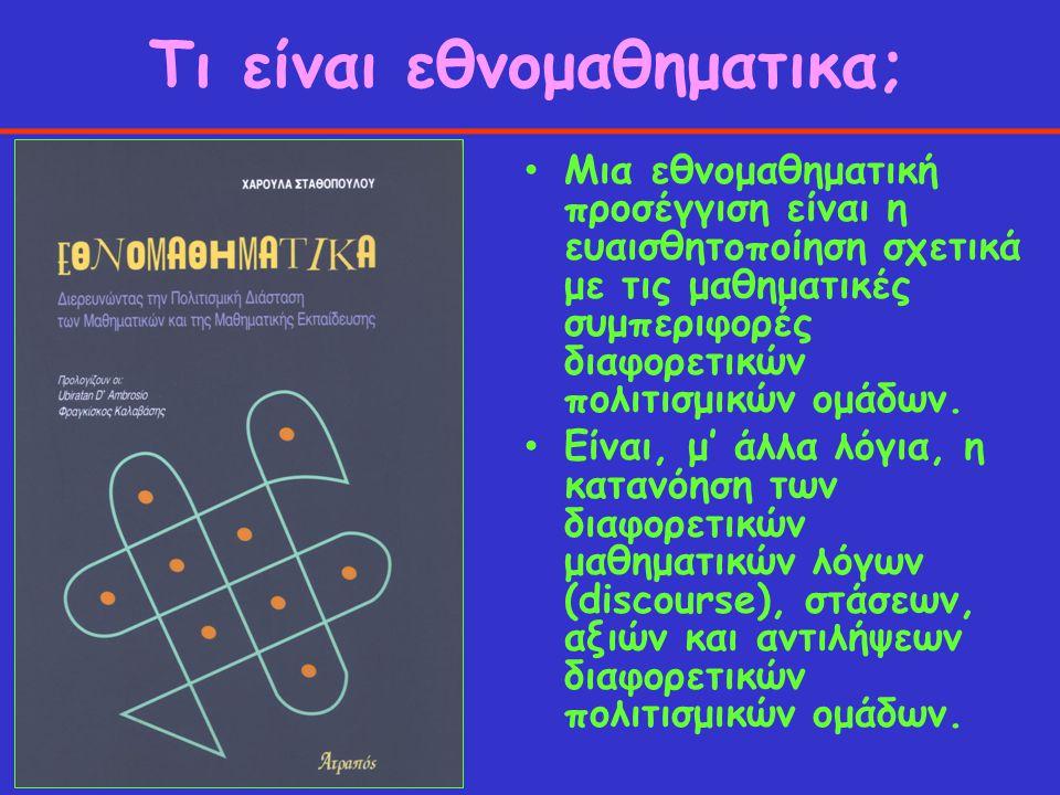 Τι είναι εθνομαθηματικα; Μια εθνομαθηματική προσέγγιση είναι η ευαισθητοποίηση σχετικά με τις μαθηματικές συμπεριφορές διαφορετικών πολιτισμικών ομάδω