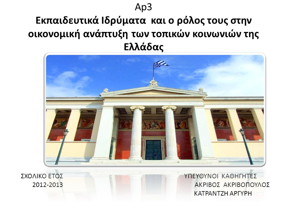 Ap3 Εκπαιδευτικά Ιδρύματα και ο ρόλος τους στην οικονομική ανάπτυξη των τοπικών κοινωνιών της Ελλάδας ΣΧΟΛΙΚΟ ΕΤΟΣ ΥΠΕΥΘΥΝΟΙ ΚΑΘΗΓΗΤΕΣ 2012-2013 ΑKΡΙΒΟΣ ΑΚΡΙΒΟΠΟΥΛΟΣ ΚΑΤΡΑΝΤΖΗ ΑΡΓΥΡΗ