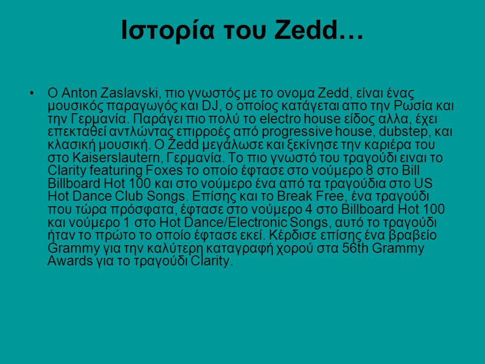 Ιστορία του Zedd… Ο Anton Zaslavski, πιο γνωστός με το ονομα Zedd, είναι ένας μουσικός παραγωγός και DJ, ο οποίος κατάγεται απο την Ρωσία και την Γερμ