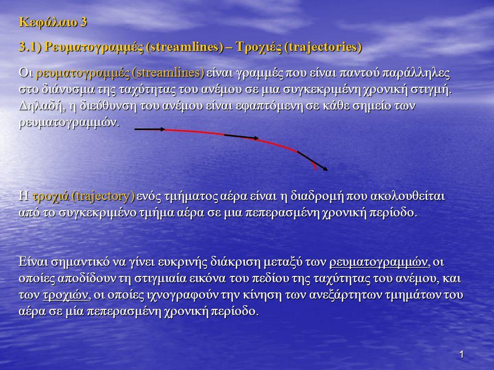 2 Η ρευματογραμμή ταυτίζεται με την τροχιά μόνο σε σταθερής κατάστασης πεδία κίνησης (steady-state motion fields).