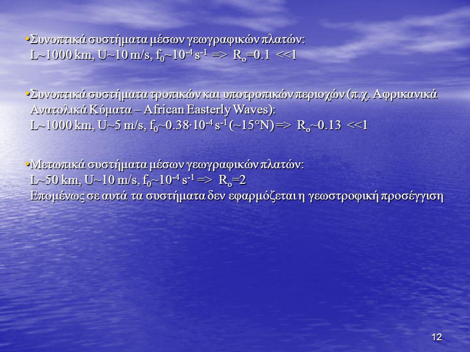 13 Άνεμος βαροβαθμίδας (από σημειώσεις Δυναμ.Μετ.