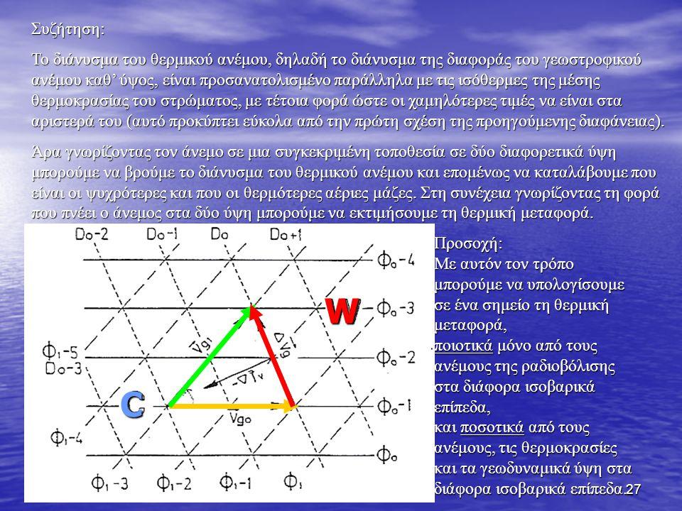28 Με αυτές τις σχέσεις μπορούμε εύκολα να κατανοήσουμε γιατί στα μέσα γεωγραφικά πλάτη του Βόρειου ημισφαιρίου οι δυτικοί άνεμοι ενισχύονται με το ύψος (π.χ.