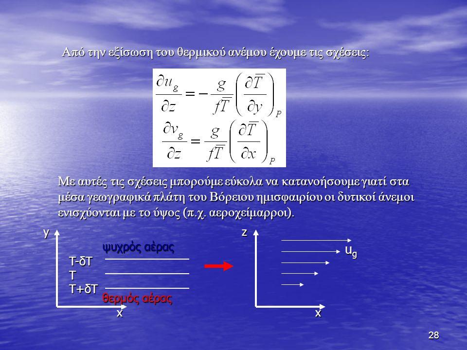 28 Με αυτές τις σχέσεις μπορούμε εύκολα να κατανοήσουμε γιατί στα μέσα γεωγραφικά πλάτη του Βόρειου ημισφαιρίου οι δυτικοί άνεμοι ενισχύονται με το ύψ