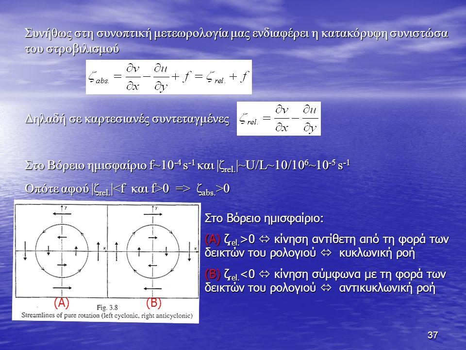38 Ο σχετικός στροβιλισμός μπορεί να θεωρηθεί σαν το άθροισμα δύο συνιστωσών: α) του σχετικού στροβιλισμού λόγω καμπυλότητας (curvature vorticity) και β) του σχετικού στροβιλισμού λόγω διατμητικού ανέμου (shear vorticity) curvature vorticity cyclonic anticyclonic shear vorticity cyclonic anticyclonic shear vorticity cyclonic anticyclonic No curvature vorticity anticyclonic curvature vorticity + cyclonic shear vorticity Επομένως ακόμα και μία ευθύγραμμη κίνηση μπορεί να έχει σχετικό στροβιλισμό αν η ταχύτητα μεταβάλλεται σε διεύθυνση κάθετη προς τον άξονα της ροής.