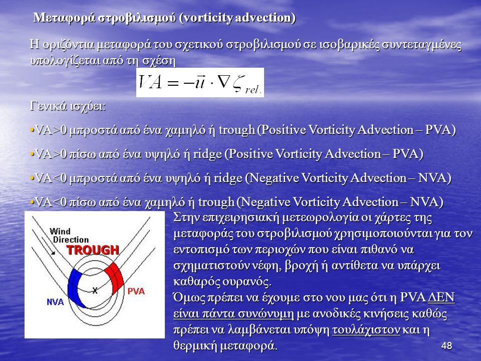 48 Η οριζόντια μεταφορά του σχετικού στροβιλισμού σε ισοβαρικές συντεταγμένες υπολογίζεται από τη σχέση Γενικά ισχύει: VA>0 μπροστά από ένα χαμηλό ή t