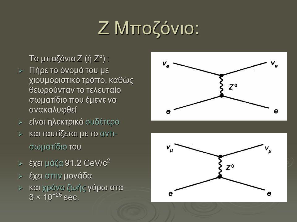 Ζ Μποζόνιο: Το μποζόνιο Z (ή Z ο ) :  Πήρε το όνομά του με χιουμοριστικό τρόπο, καθώς θεωρούνταν το τελευταίο σωματίδιο που έμενε να ανακαλυφθεί  εί
