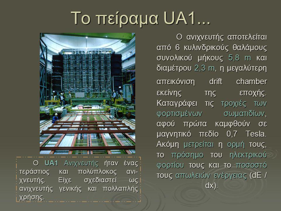 Τo πείραμα UA1... Ο ανιχνευτής αποτελείται από 6 κυλινδρικούς θαλάμους συνολικού μήκους 5,8 m και διαμέτρου 2,3 m, η μεγαλύτερη απεικόνιση drift chamb