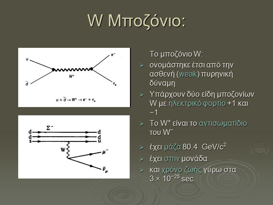 W Μποζόνιο: Το μποζόνιο W:  ονομάστηκε έτσι από την ασθενή (weak) πυρηνική δύναμη  Υπάρχουν δύο είδη μποζονίων W με ηλεκτρικό φορτίο +1 και −1  Το