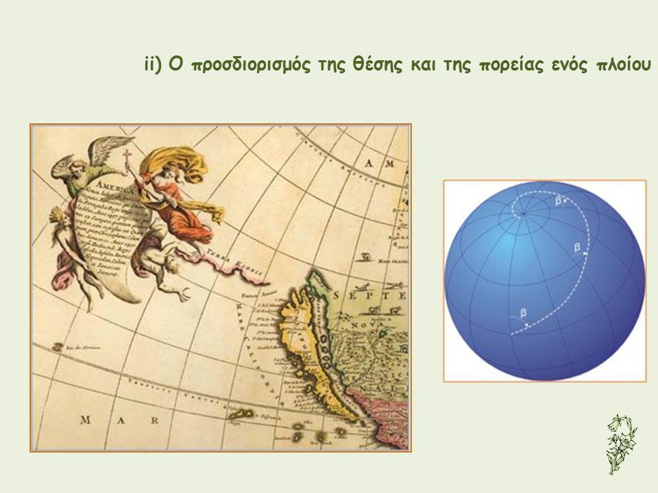 ii) Ο προσδιορισμός της θέσης και της πορείας ενός πλοίου