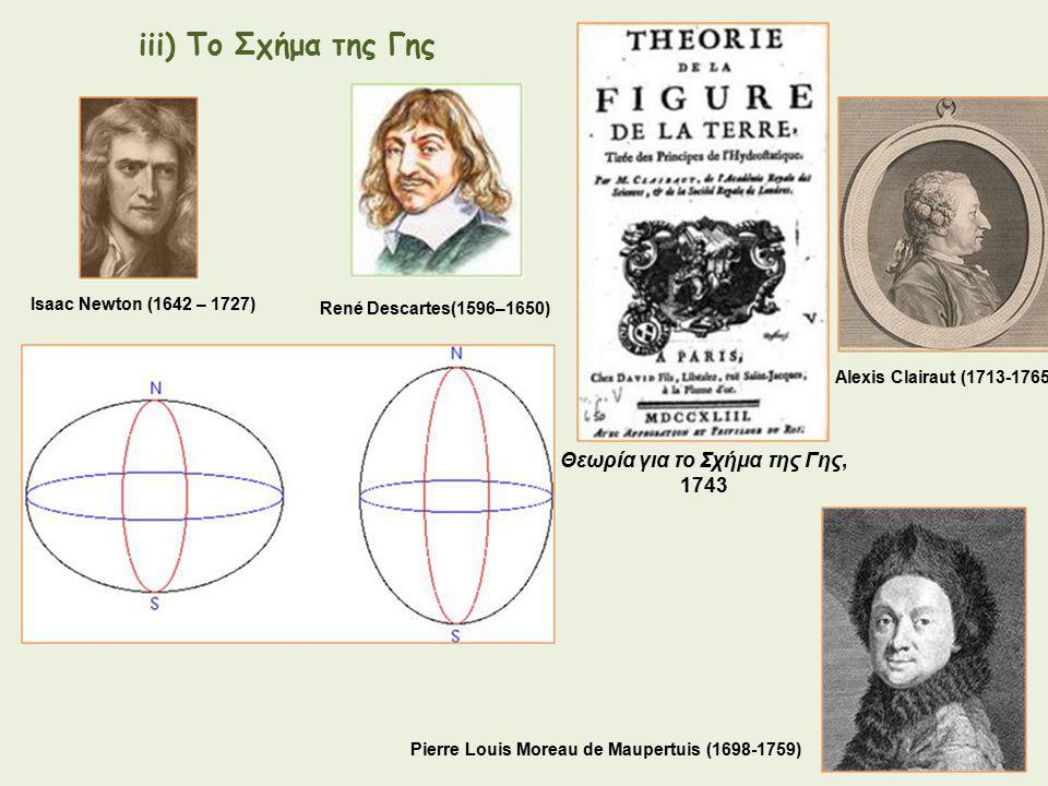 Alexis Clairaut (1713-1765) Θεωρία για το Σχήμα της Γης, 1743 Pierre Louis Moreau de Maupertuis (1698-1759) Isaac Newton (1642 – 1727) René Descartes(1596–1650) iii) Το Σχήμα της Γης