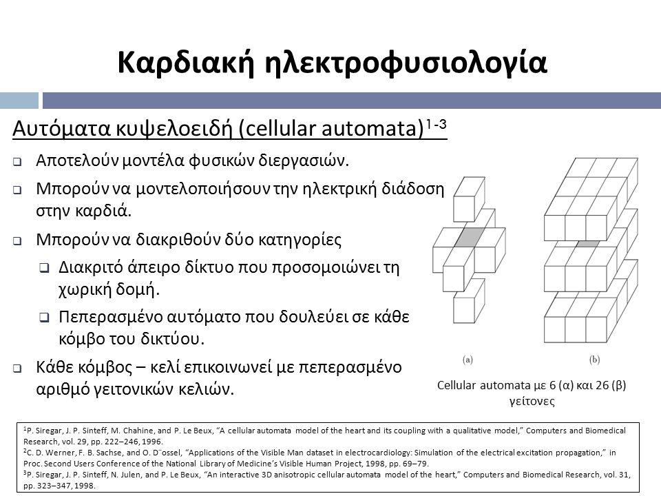 Cellular automata με 6 (α) και 26 (β) γείτονες Αυτόματα κυψελοειδή (cellular automata) 1-3  Αποτελούν μοντέλα φυσικών διεργασιών.  Μπορούν να μοντελ
