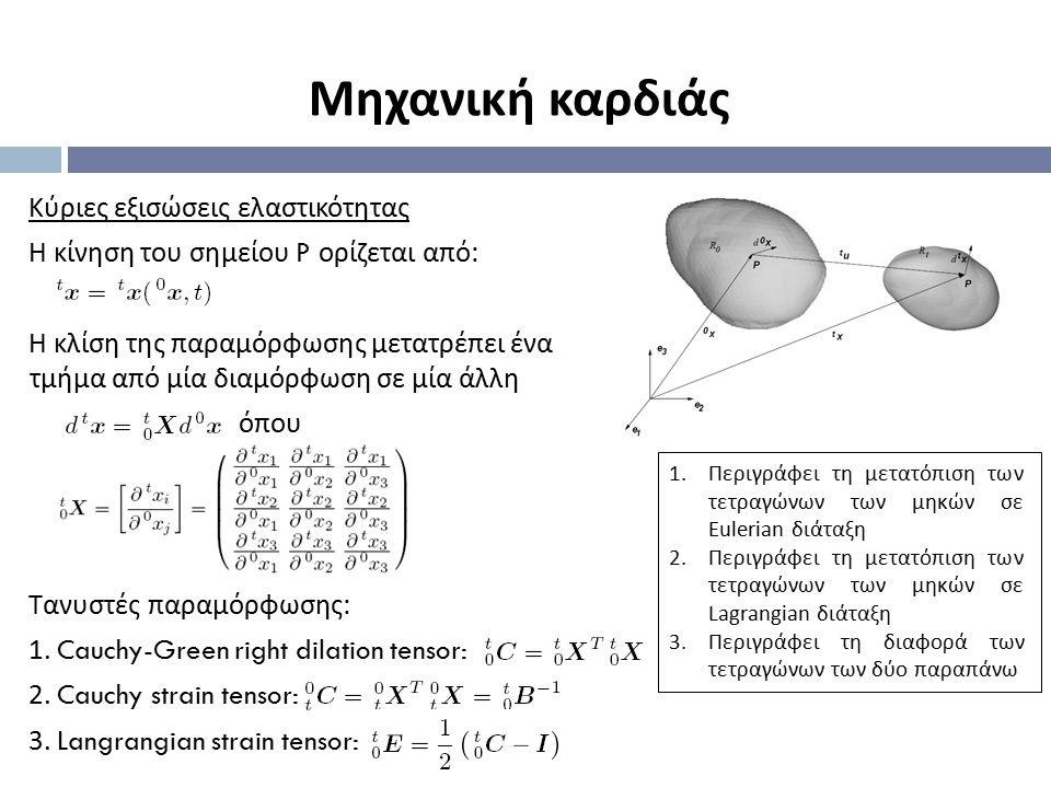 Κύριες εξισώσεις ελαστικότητας Η κίνηση του σημείου P ορίζεται από : Η κλίση της παραμόρφωσης μετατρέπει ένα τμήμα από μία διαμόρφωση σε μία άλλη όπου