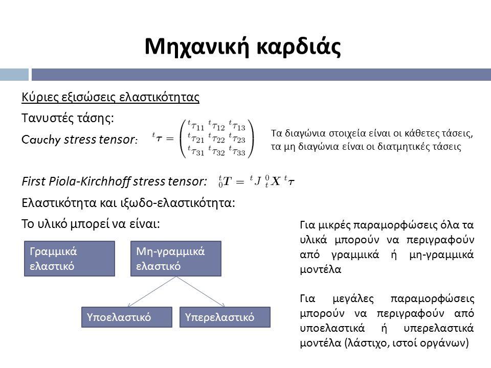 Κύριες εξισώσεις ελαστικότητας Τανυστές τάσης : Cauchy stress tensor : First Piola-Kirchhoff stress tensor : Ελαστικότητα και ιξωδο - ελαστικότητα : Τ