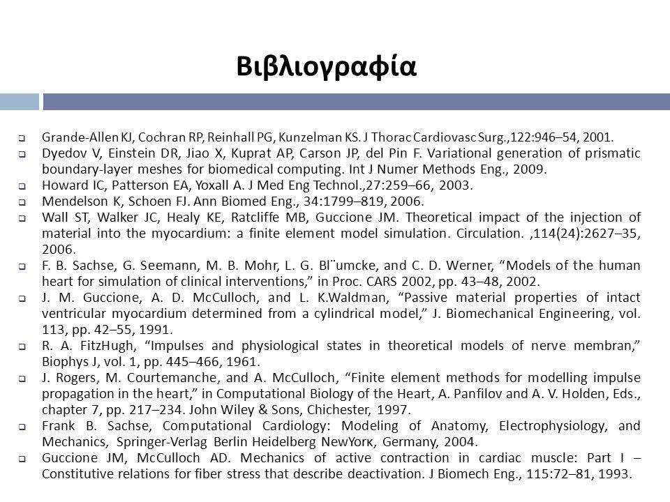 Βιβλιογραφία  Grande-Allen KJ, Cochran RP, Reinhall PG, Kunzelman KS. J Thorac Cardiovasc Surg.,122:946–54, 2001.  Dyedov V, Einstein DR, Jiao X, Ku