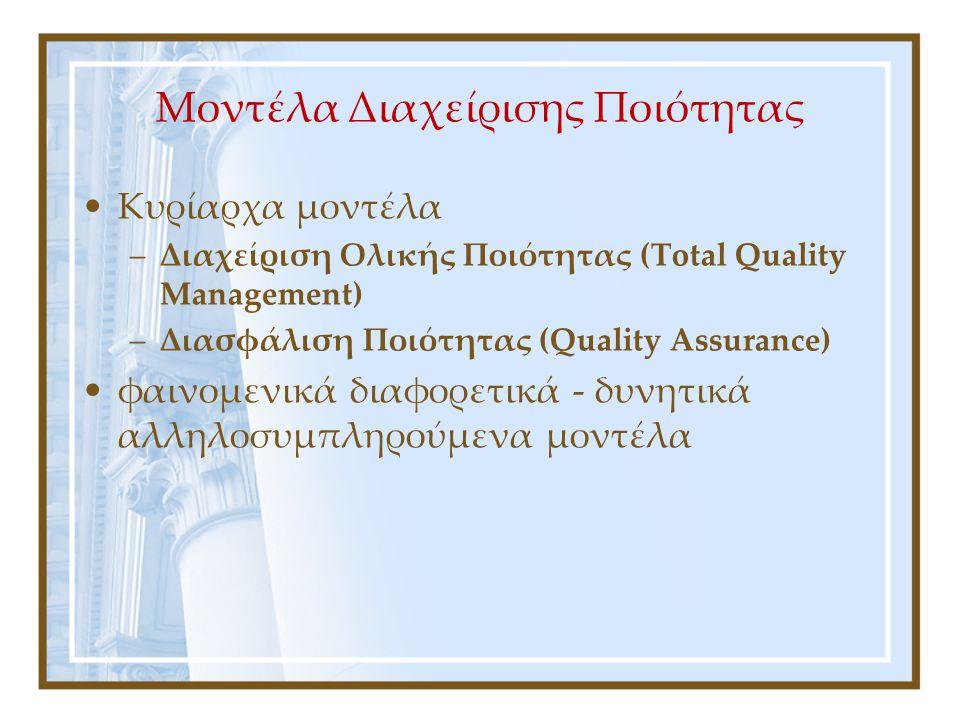 Διαχείριση Ολικής Ποιότητας (Total Quality Management) (1) Διάσημοι «γκουρού»: Edward Deming, Juran και Crosby Βασικές αρχές της φιλοσοφίας: –δέσμευση, συμμετοχή, γνώση, συνεχής βελτίωση, εστίαση στον πελάτη αλλά και στους προμηθευτές κ.α.