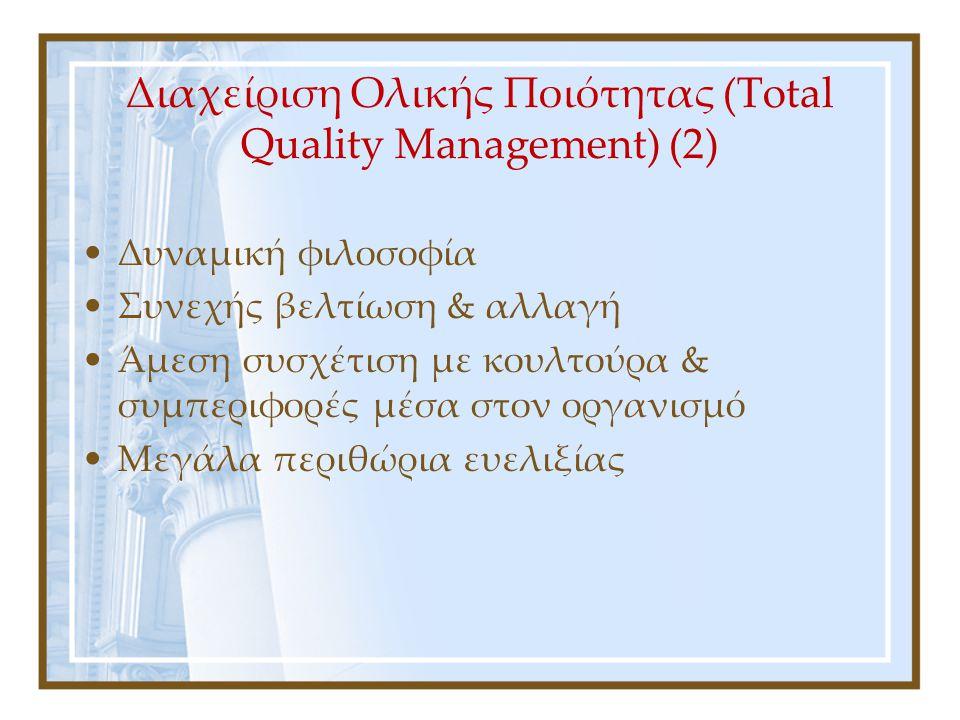 Διασφάλιση Ποιότητας (Quality Assurance) Ανάπτυξη το ΄70 βάσει του BS 5750 του British Standards Institution Παγκόσμιο πρότυπο το 1987 με την μορφή της σειράς προτύπων ISO 9000 Καθορισμός προδιαγραφών - Συμμόρφωση με προδιαγραφές Διαμόρφωση γραφειοκρατικού συστήματος: διαδικασίες, έντυπα καταγραφής και οδηγίες εργασίας Εσωτερικοί & εξωτερικοί έλεγχοι Διασφάλιση επιπέδου ποιότητας βάσει των καθορισμένων προδιαγραφών – Δεν διασφαλίζεται βελτίωση ποιότητας