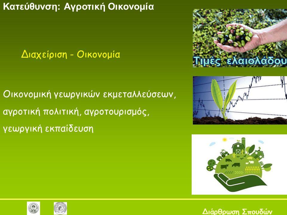 Διαχείριση - Οικονομία Κατεύθυνση: Αγροτική Οικονομία Διάρθρωση Σπουδών Οικονομική γεωργικών εκμεταλλεύσεων, αγροτική πολιτική, αγροτουρισμός, γεωργικ