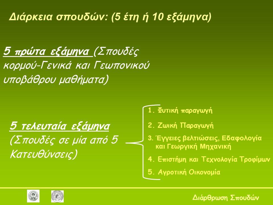 1.Φυτική παραγωγή 2. Ζωική Παραγωγή 3. Έγγειες βελτιώσεις, Εδαφολογία και Γεωργική Μηχανική 4.