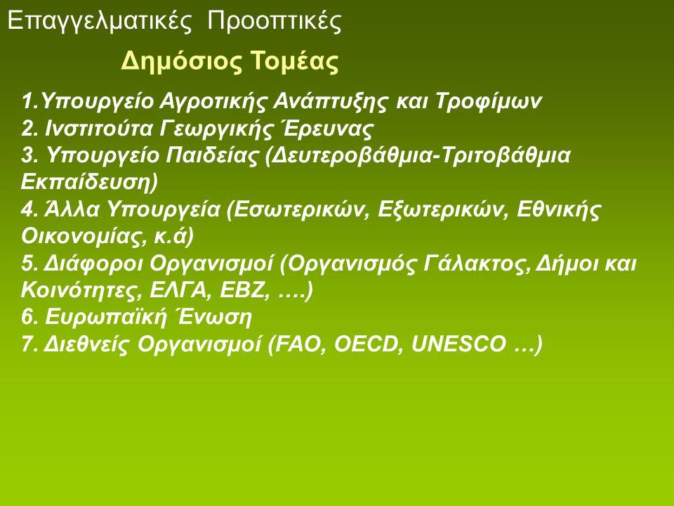 Επαγγελματικές Προοπτικές 1.Υπουργείο Αγροτικής Ανάπτυξης και Τροφίμων 2.