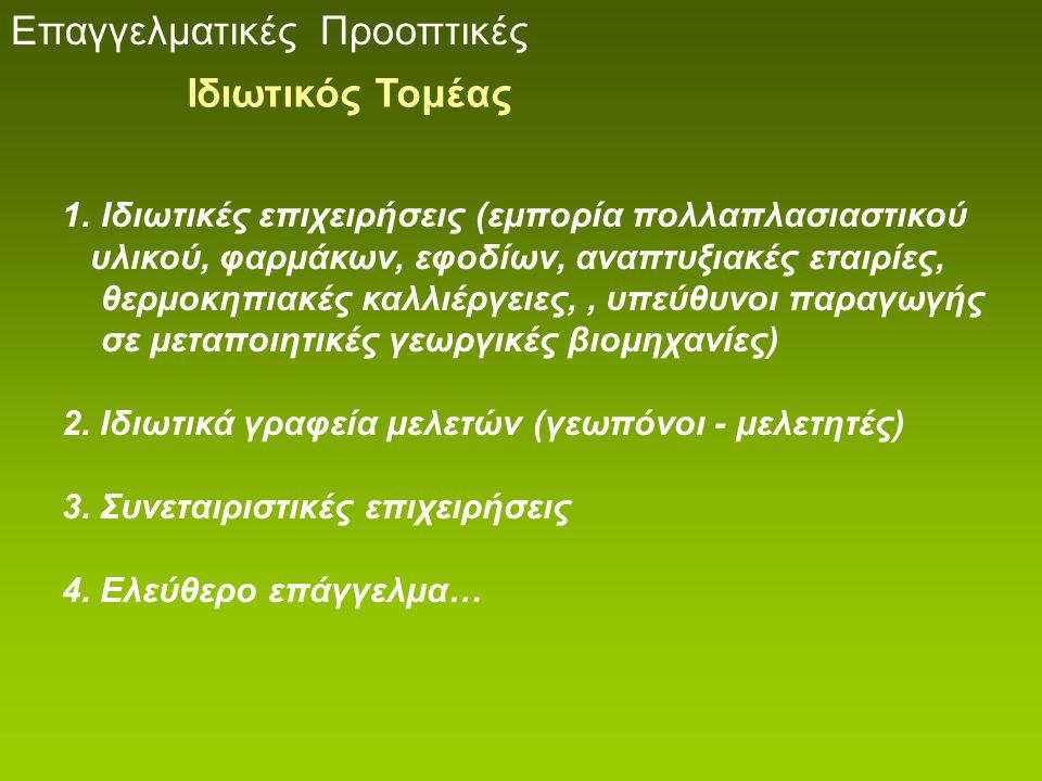 1.Ιδιωτικές επιχειρήσεις (εμπορία πολλαπλασιαστικού υλικού, φαρμάκων, εφοδίων, αναπτυξιακές εταιρίες, θερμοκηπιακές καλλιέργειες,, υπεύθυνοι παραγωγής
