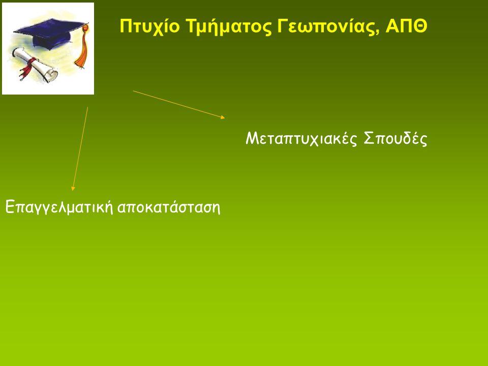 Επαγγελματική αποκατάσταση Μεταπτυχιακές Σπουδές Πτυχίο Τμήματος Γεωπονίας, ΑΠΘ
