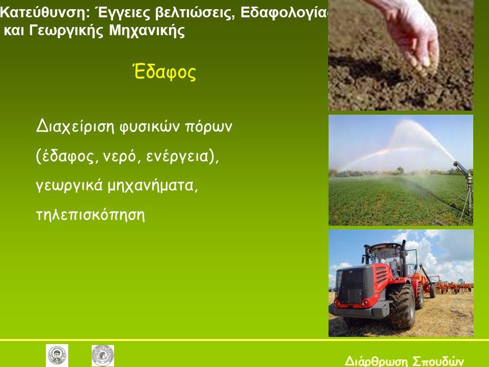Διαχείριση φυσικών πόρων (έδαφος, νερό, ενέργεια), γεωργικά μηχανήματα, τηλεπισκόπηση Κατεύθυνση: Έγγειες βελτιώσεις, Εδαφολογίας και Γεωργικής Μηχανικής Διάρθρωση Σπουδών Έδαφος