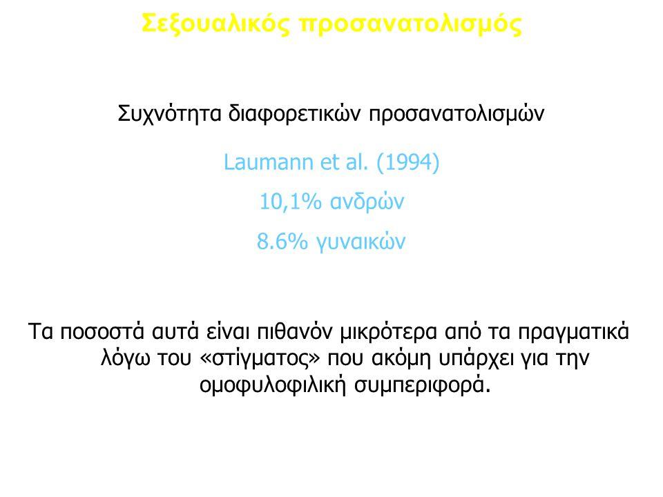 Σεξουαλικός προσανατολισμός Συχνότητα διαφορετικών προσανατολισμών Laumann et al. (1994) 10,1% ανδρών 8.6% γυναικών Τα ποσοστά αυτά είναι πιθανόν μικρ